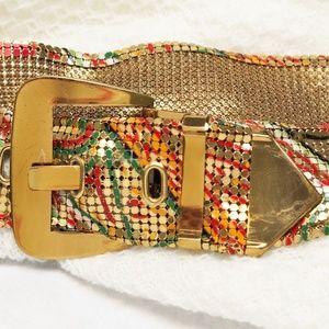 Whiting & Davis Multi-color Metal Mesh Belt VTG